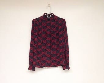 Vintage 1970s High Neck Burgundy and Aubergine Patterned Blouse