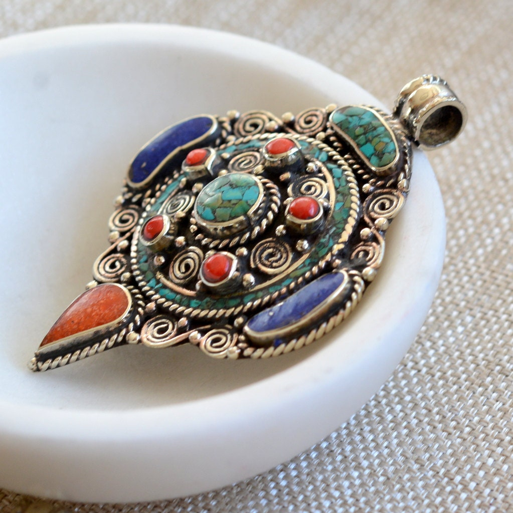 necklace multi desc seed colored beads pendant with product tibetan blue image