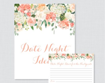 Peach Date Night Ideas - Printable Floral Bridal Shower Date Night Idea Cards and Sign - Peach and Cream Flower Garden Shower Activity 0028