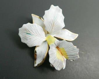 Vintage, Orchid Brooch, White Enamel, Gold Tone, STL15