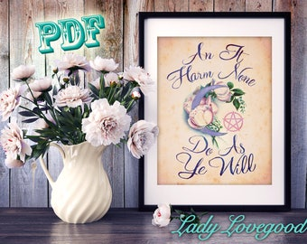 Do As Ye Will Wall Art - Printable PDF - Wiccan Decor