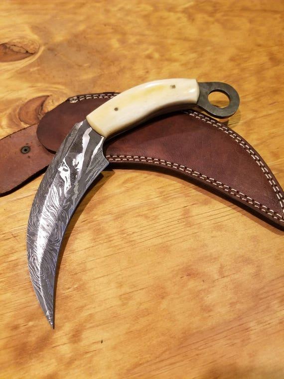 Handmade Bone Handle Scythe Hunting Knife Damascus Blade Collection With Sheath Premium Karambit (A302)