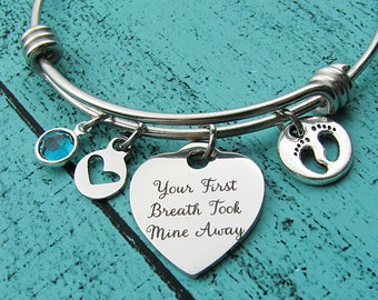 gift for Mom bracelet, new Mom gift, for daughter, Mothers Day gift, baby shower gift, Mother to be gift, your first breath took mine away