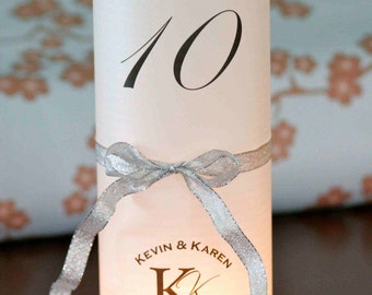 10+ Table number Luminaries for centerpieces, table numbers at wedding, events, balls with round monogram