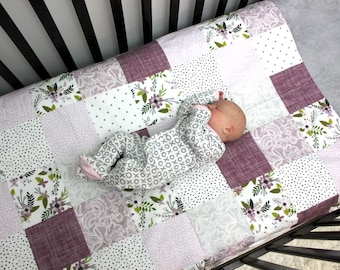 Baby Girl Bedding, Girl Crib Quilt, Floral Lace Purple Crib Bedding