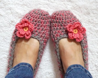 Non Slip Coating,Extra Thick Simply Crochet Slippers in Gray/ Coral with Coral Flower, Adult Crochet Slippers,Adult Slippers