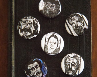 Classic Author Button Flair for the Book Lover-- literary gifts for teacher -- classic literature gift