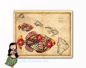 Vintage Hawaiian Islands Map  Hawaii Humuhumunukuapua'a Fish  Fine Art Giclée Print