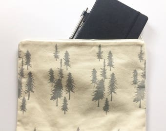 Tree Handmade Block Printed Bag, iPad pouch, Sketchbook holder, Make-up bag, READY to SHIP!