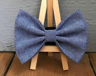 Chambray Dog Bow Tie, Indigo Chambray