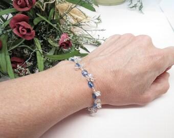 Kyanite Moonstone Bracelet, Blue Gemstone Bracelet In Sterling Silver, 6.3/4-8 Inches Length, Blue Fire Moonstone, Something Blue