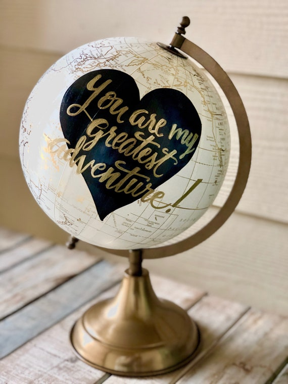 Custom Calligraphy Globe / Your Choice of Wording / Globe Finish in White and Gold w/Black heart in background / Wedding Guestbook/Nursery
