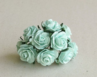 25mm Mint Green Roses - 10 mulberry paper roses wire stems [166]