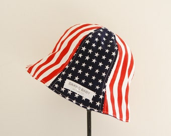 American flag hat, baby sun hat, baby summer hat, 4th of July,  - made to order
