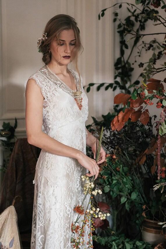Edwardian Style French Lace Wedding Dress