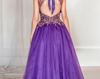 Violet lace and tulle evening gown, purple evening gown, tulle evening gown, tulle evening dress, violet wedding dress, red carpet dress