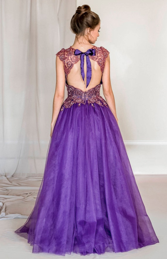 Violet lace and tulle evening gown purple evening gown tulle