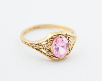 Vintage Gold Tone Pink Glass Crystal Ring