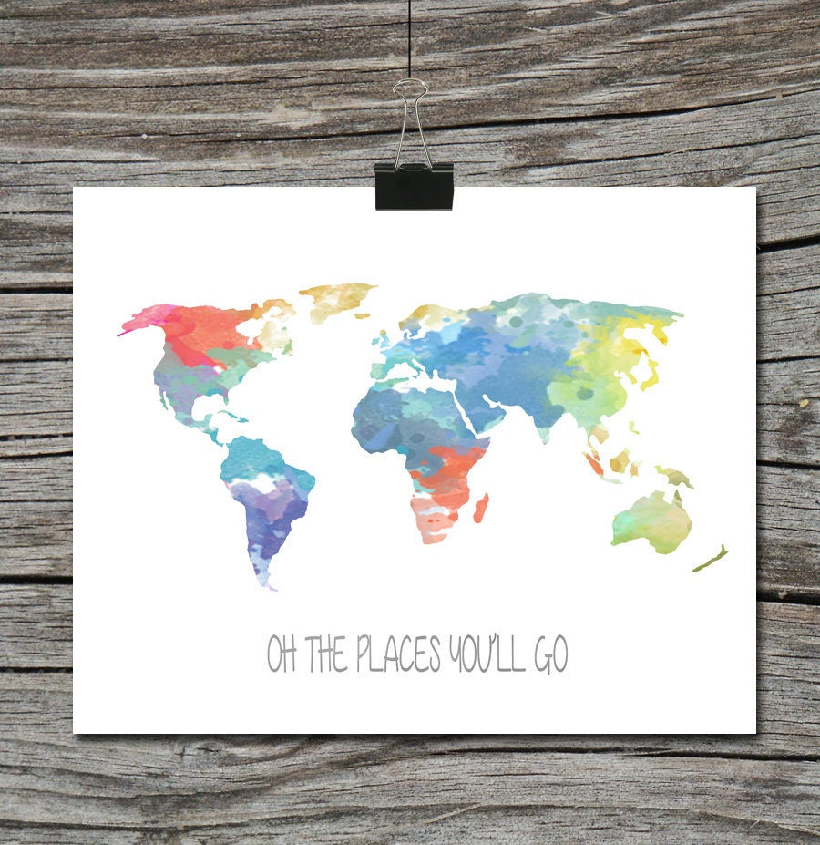 World map travel quote poster watercolor oh the places zoom gumiabroncs Images