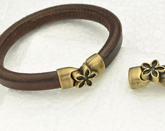Magnetic Flower Clasp for Licorice Leather - Antique Brass -  for Leather Bracelet - Fits ALL 10x6mm Cord
