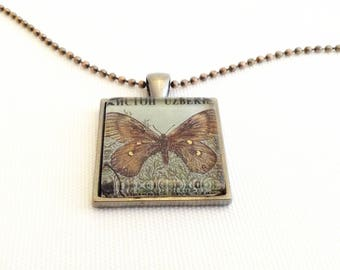 butterfly necklace, postage stamp pendant, unique gifts for men, men's necklace, gifts for husband