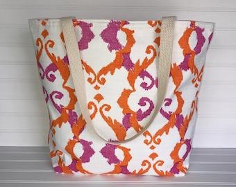 Pink - Orange Geometric Tote | Handmade Everyday Tote | Market Bag