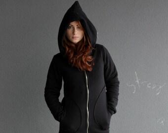 Hoodie, Long Hoodie, Women's Hoodie, Warm hoodie,Cotton hoodie, Black hoodie,Hand made,Jacket Asymmetrical,Clothing, Gothic Clothing