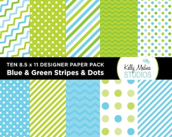 001B Blue and Green Stripes and Dots - Designer Paper Pack - Digital Elements for Cards, Stationery, Backgrounds, Paper Crafts and Products