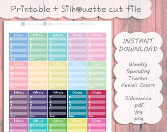 Printable Calorie Trackers ~ Kawaii Colors Collection || Planner Stickers : The Happy Planner, A5, Travelers Notebook