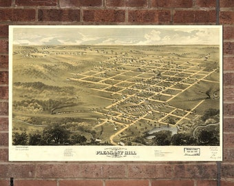 Vintage Pleasant Hill Photo, Pleasant Hill Map, Aerial Pleasant Hill Photo, Old Pleasant Hill Map, Pleasant Hill Poster, MO Art