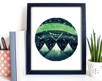 Modern Cross Stitch Pattern, nature, landscape, mountains, round, night sky, stars, galaxy, green, embroidery, instant download PDF, DIY