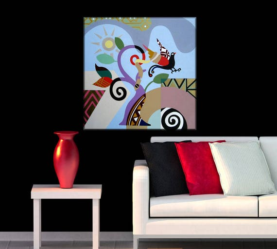 Abstract Landscape Art, Philosophical Art, Freedom Art, Happy Art, Abstract Bird Art, Abstract Nature Art, Geometric Wall Art, Cubist Art