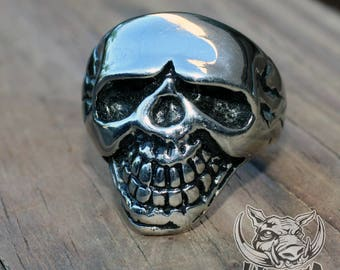 Grinning Skull Stainless Steel Ring
