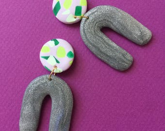 Klay By Pia ||| The Speckled Glitter Arch ||| Silver Glitter, Green Speckles, Light Pink
