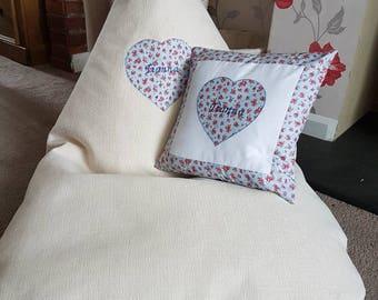 Bean bag chair, child's bean bag, personalised chair, giant floor cushion, gaming chair, cream, Cath kidson, matching cushion,heart applique