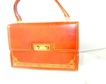 Hollywood vintage 50s caramel  genuine leather , Kelly bag. The  Leather Guild Florence Purse. Made in Italy.