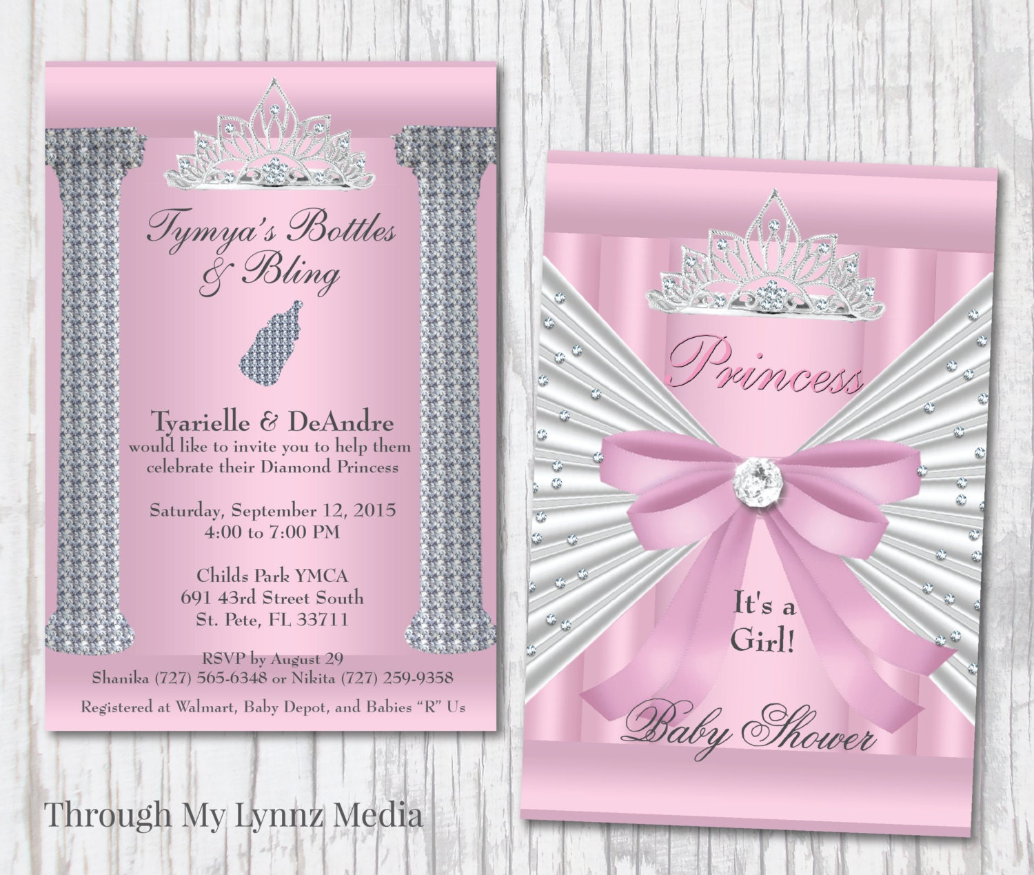 Bling Baby Shower Invitations Pink Princess Baby Shower