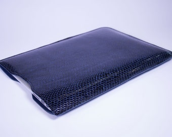 """Macbook Air Premium Leather and Suede Laptop Sleeve Case 11"""" 12"""" 13"""" - DORNEY Navy Snake Print Leather"""