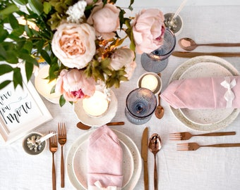 Blush Pink napkins set made of Natural Linen, perfect as wedding napkins