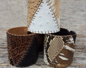 Leather Cuff Handmade with Hair On Calf  & Ostrich in Soft Off White Leather and Beige Fringe by Stacy Leigh