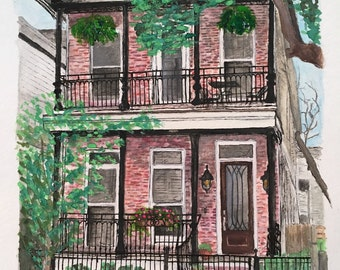 Custom watercolor house portrait, 8x10