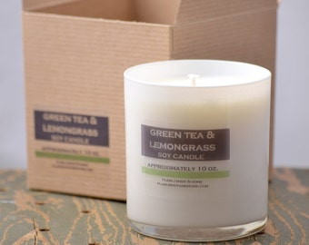 Green Tea & Lemongrass Soy Candle White Glass Tumbler 10oz - green tea candle - fresh scent candle - lemongrass candle - citrus candle