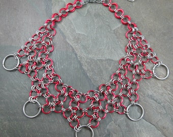 Chainmaille Necklace - Japanese Weave - Red and Silver - Chainmail Necklace - Honeycomb Weave - Chainmaille Jewelry - Medieval Necklace