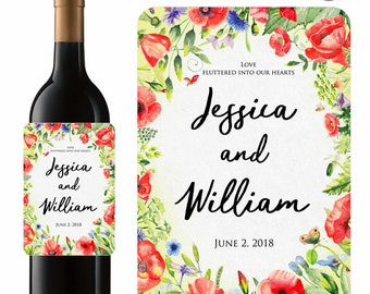 Personalized Wedding Wine Labels Something Fields of Poppies With Red Poppy Watercolor Flowers Labels In Waterproof Vinyl