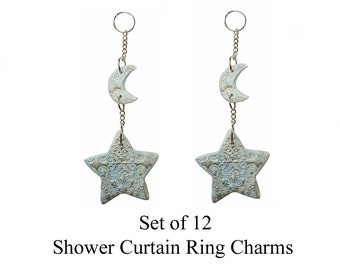 Decorative Shower Curtain Ring Charms... Stars and Moons