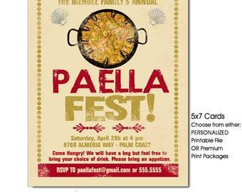 Paella Party Invitation, Paella Invitation, Spanish Food Party Invitation, Printable Invitation, Printed Invitations with Envelopes