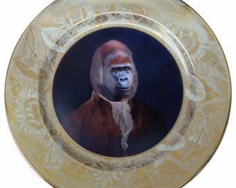 Extra large Sir Anthony Rossi of Gorillini Portrait Plate 12.4""