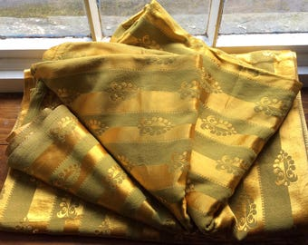 """Vintage Pair of 1940s/50s """"liquid gold""""striped satin brocade curtains , 43ins wide 118 ins drop. Gorgeous """"liquid gold""""."""