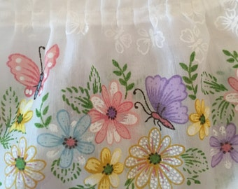 Vintage Spring Curtains with Butterflies and Flowers
