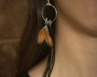 Labradorite Feather Hoop Earrings